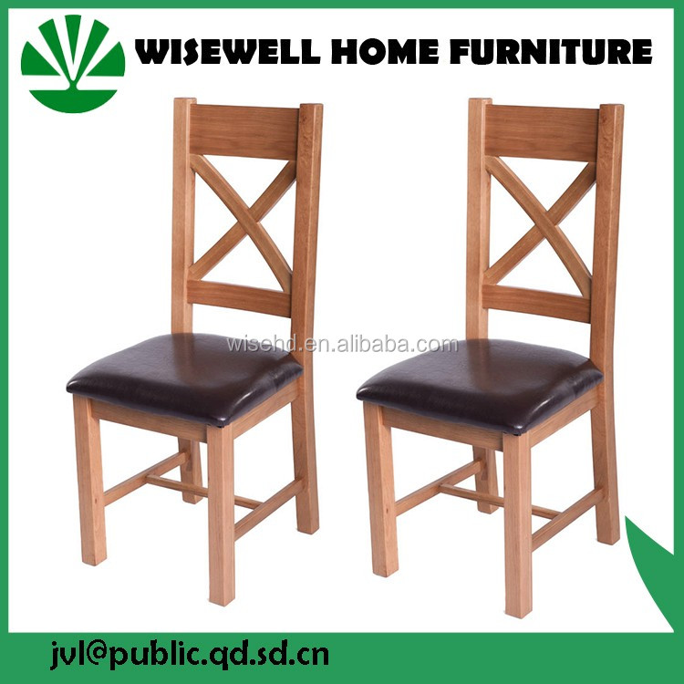 (W-C-560) solid oak cross back pu leather seat chair