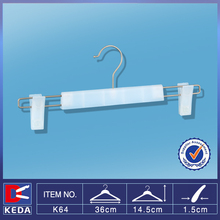 White metal hook and clips transparent plastic ps pants hanger K64