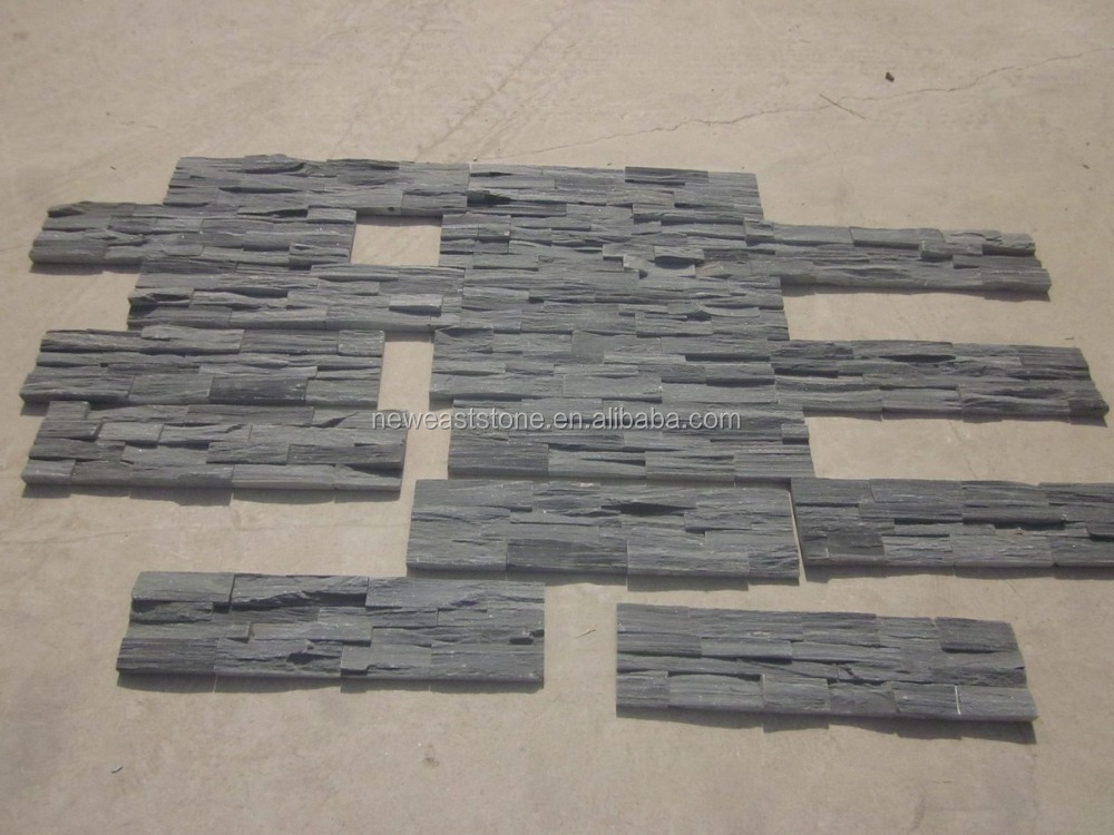Charcoal Random Slate Stacked Ledge Decorative Stone for walls
