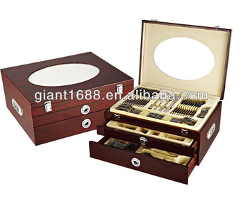 125pcs cutlery set wooden suitcase with code lock