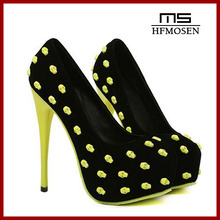 S4131 Women Shoes 2013 latest spring autumn stylish skull decorated fashion high heels sexy nightclub ladies pumps