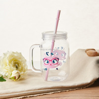 16OZ single wall plastic mason jar with lid and straw