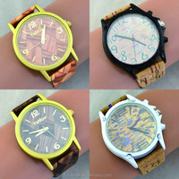 Free Shipping Fashion Jewelry Wood Leather Watches Ladies Women Wristwatch Luxury Quartz Watch