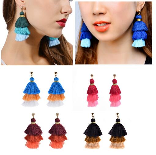 Fashion Women Boho Earrings Long Tassel Fringe Ear Stud Dangle Earrings Jewelry