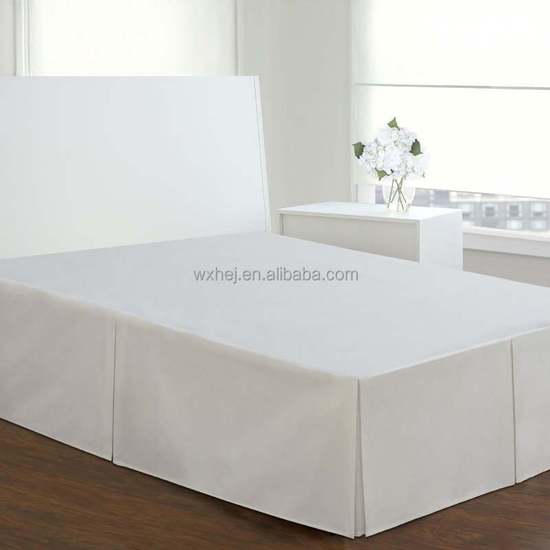 White Plain Dyed Queen Size Fitted Bed Skirt for Hotel