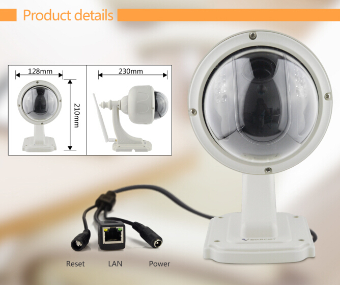 VStarcam C7833WIP*4 zoom 720P Ip66 waterproof onvif wireless mini webcam