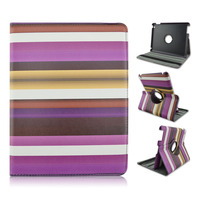 Stylish Changing Color Rainbow PU Leather Case With Elastic Belt For Apple iPad 2 3 4, ipad air, ipad mini
