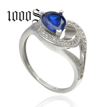Wholesale Latest Real Silver Jewelry Diamond Sapphire Zircon Wedding Ring 925 Sterling Silver Fashion Rings for Women