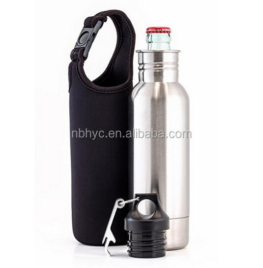 Stainless Steel Beer Bottle Holder Insulator With Opener and Carrying Case,Custom stainless steel beer bottle cover