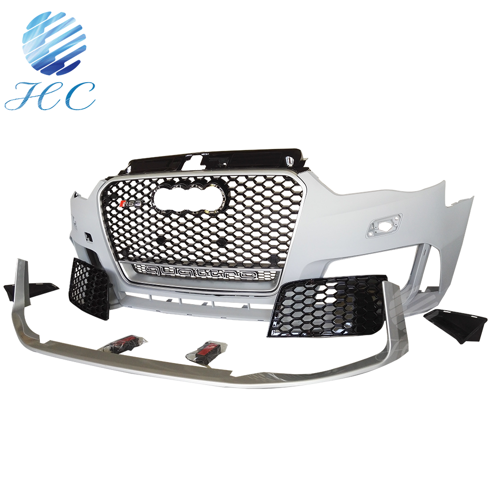 RS3 Style Unpainted Front Bumper With Grille For 2014 2015 2016 Audi A3 S3