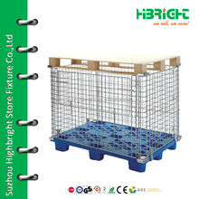 industrial stackable storage folding collapsible metal wire mesh container