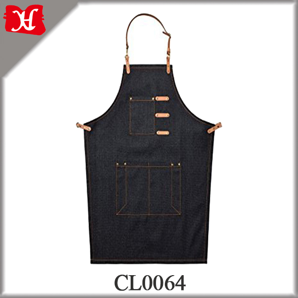 Best Quality Durable Canvas Men's Apron Leather Chef Works Apron with Adjustable Neck Straps