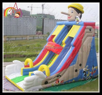 Popular creative children games outdoor amusement inflatable puppet cartoon slide