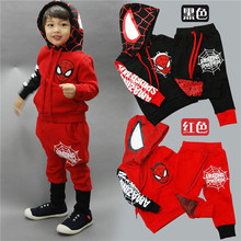 HFR-ACH26 2015 spring-autumn boys Spiderman suit, children thick warm clothing set,boys casual suit