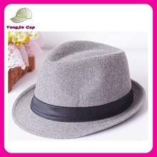 solid color promotional custom logo Trilby wool felt fedora hat wholesale