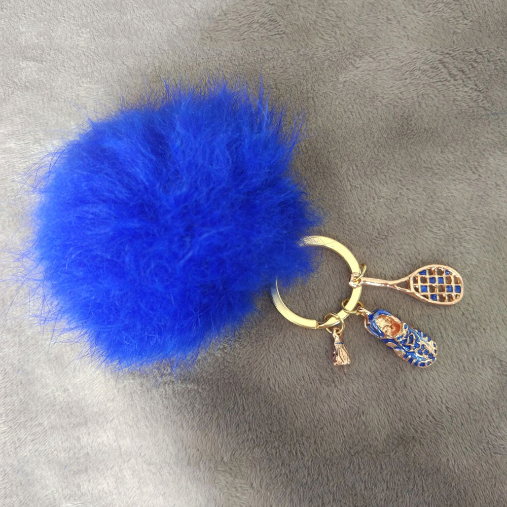 Charm 3d badminton shoe pendant fur ball pom pom keychain wholesale jewelry