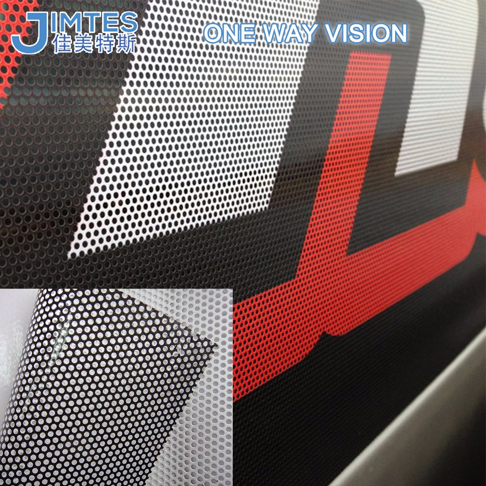 black glue pvc perforated adhesive vinyl window one way vision film