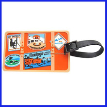 new design pvc cartoon photo frame silicone 3d luggage tags