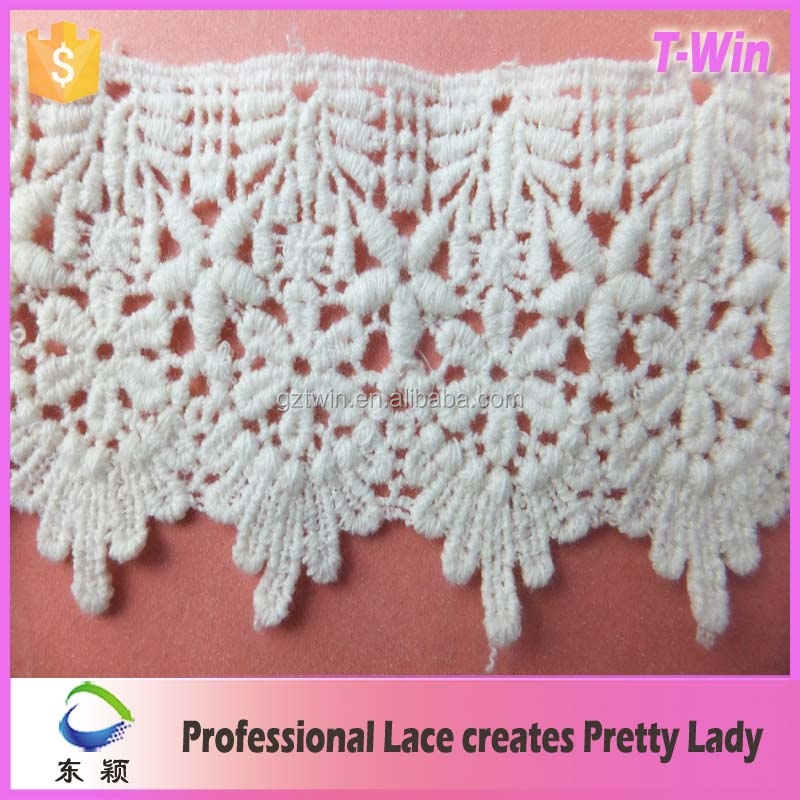 2016 Hot sale wholesale crocheted cotton lace trim knitted chemical lace fabric