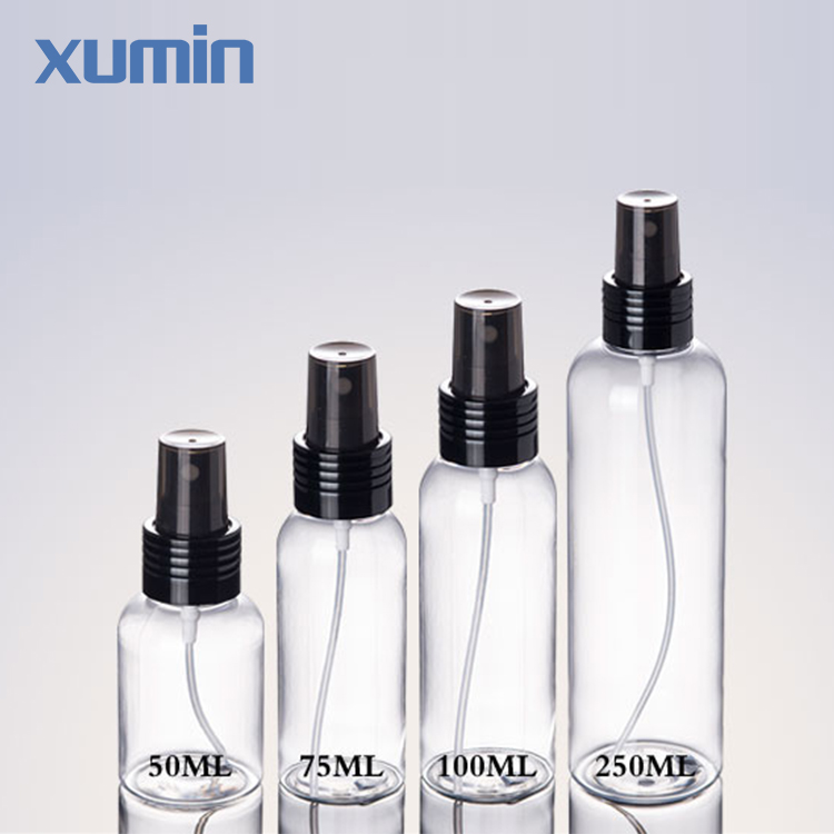 Big Sale Leak-proof design black cap 50 100 75 250ml clear spray plastic liquid cosmetic pet bottle