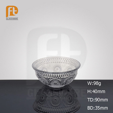 Hot Engraved Sunflower Clear Glass Desert/Suger Bowl for Home Decoration