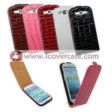 Smart Croco leather flip case for Samsung galaxy s3 i9300, s3 leather case