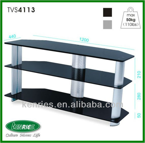 glass metal tv stand/tempered glass aluminium tubes lcd tv stand