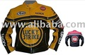 Yellow/ Black Motorbike Motorcycle Leather Jacket S-4XL