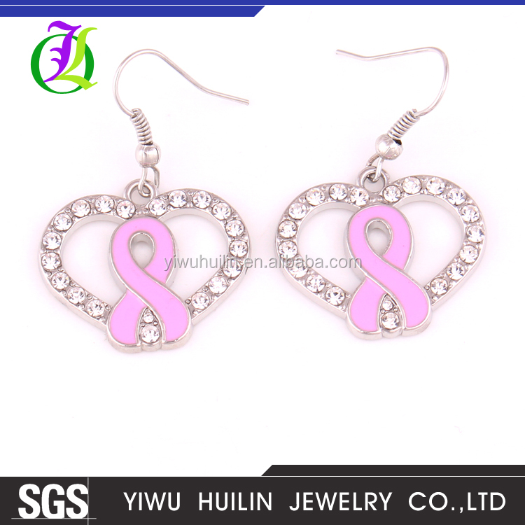 IMG1013 Yiwu Huilin Jewelry wholesale pink Breast Cancer Awareness heart fashion drop earrings for girl