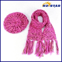 HZM-13551019 fringe girls beautiful best quality Elegant pink cashmere knit scarf and hat set