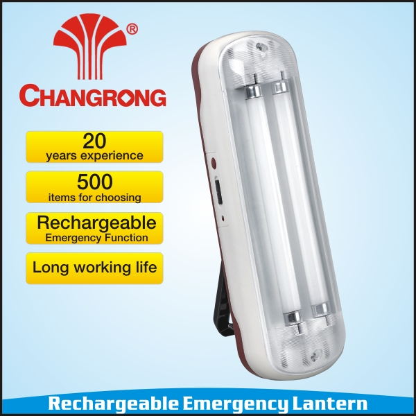 Emeregncy wall-mounted lamp with fluorescent light tube