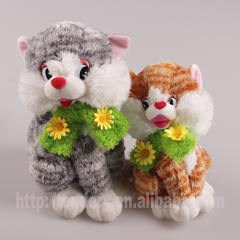 cute lifelike cat plastic eyes plush toy with flower scarf