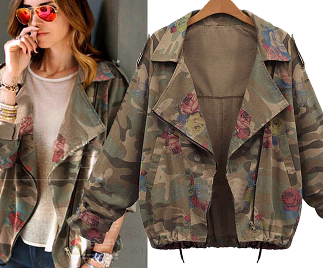 d10620b 2016 european plus size women clothing new fashion camouflage printing coat for women