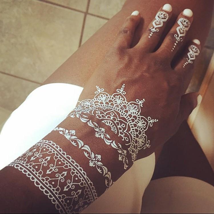 White Mehndi Buy : Wholesale new fashion flower lace white henna tattoo buy