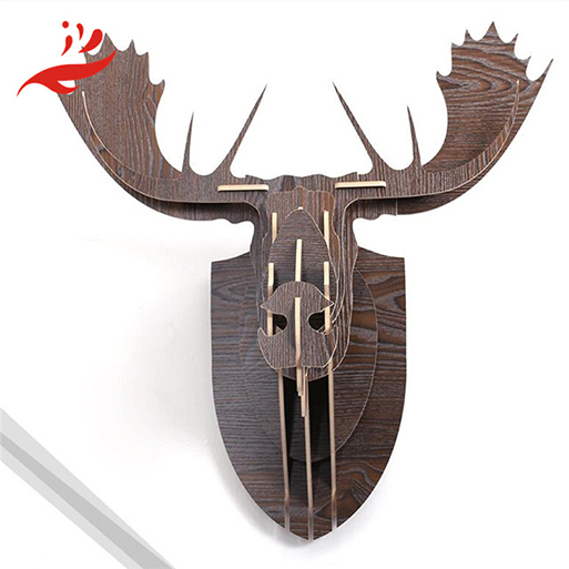 deer head wood craft wall clock for wall decoration