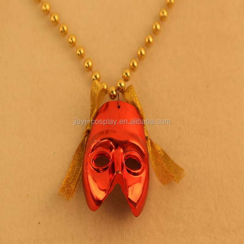 Mardi Gras Plastic Beads Necklace with Mask Halloween