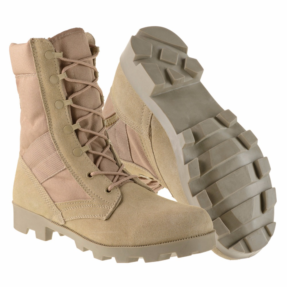 Army Jungle Khaki Sand Color Leather Tactical Combat Military Boot