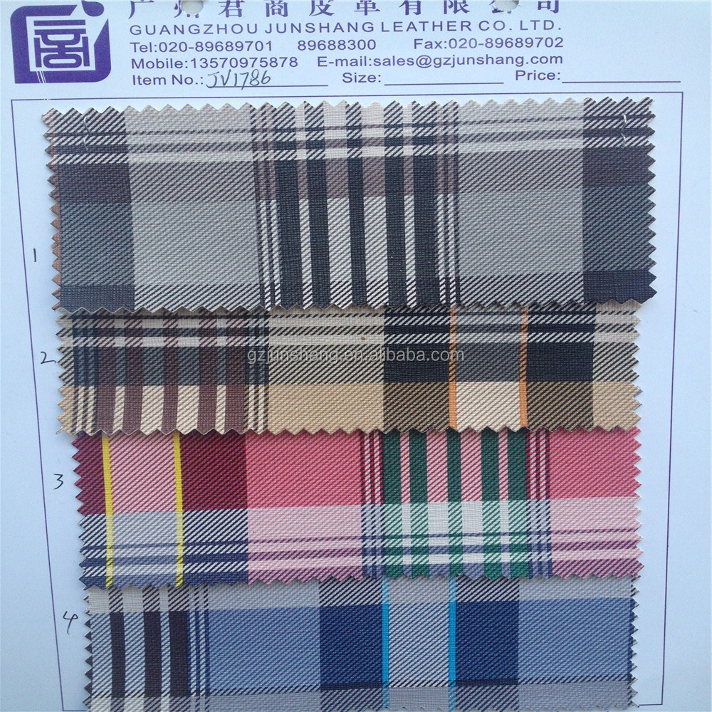 Shoes and bag material in Guangzhou checker patter,latest pattern