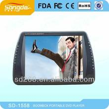 15 Inch Portable Dvd Player With Digital Tv Tuner,Dvb-t,Isdb-t,Lcd Screen,Usb,Fm,Game