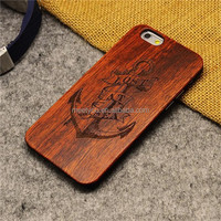 Custom phone cases laser engraving anchor shape custom design wood and PC cell phone case for iphone