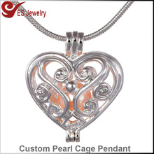 Pearl Cage Pendant Heart Shape Locket 925 Silver Tone Necklace Charms Chain 17.7""