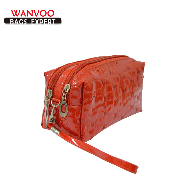Simple Red Soft PVC Leather Cosmetic Bag With Double Layers China Factory