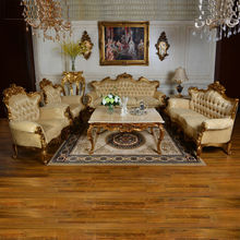 C61 Antique Fabric Sofa Sets with Marble Top Table