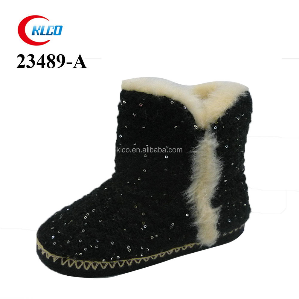 popular ladies footwear china black sequins short boots