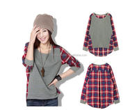 Women Ladies Plaid Checked Long Sleeve Casual Loose T-shirt Tops Blouse