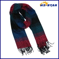 HZW-13453005 New warm winter plain weave stripe scarve feel comfortable scarf with long tassel