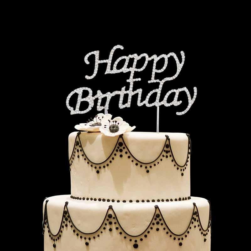 Rhinestone Happy Birthday Cake Topper Kid Boy Girl First Adult 10th
