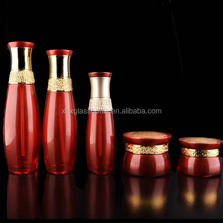 Wholesale Red Color Coated 30G 50G Cosmetic Container fancy Glass Jars