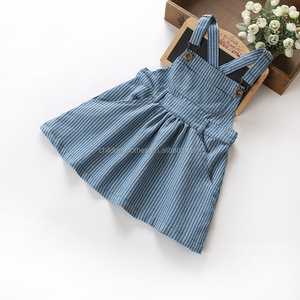 New Arrival Girl Casual Dress Denim Stripes Suspenders Boutique Knee Length Baby Frock