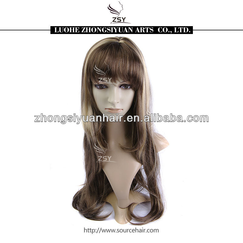 ZSY 2014 Hot selling wholesale price blonde brown mixed color bun synthetic hair wig